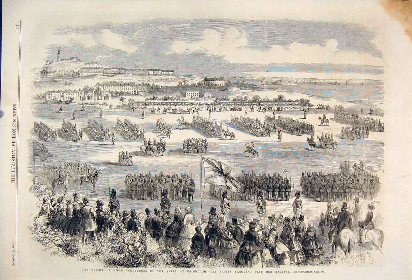 Print Review Rifle Volunteers Queen Edinburgh Troops 1860 51Maa1 Old Original