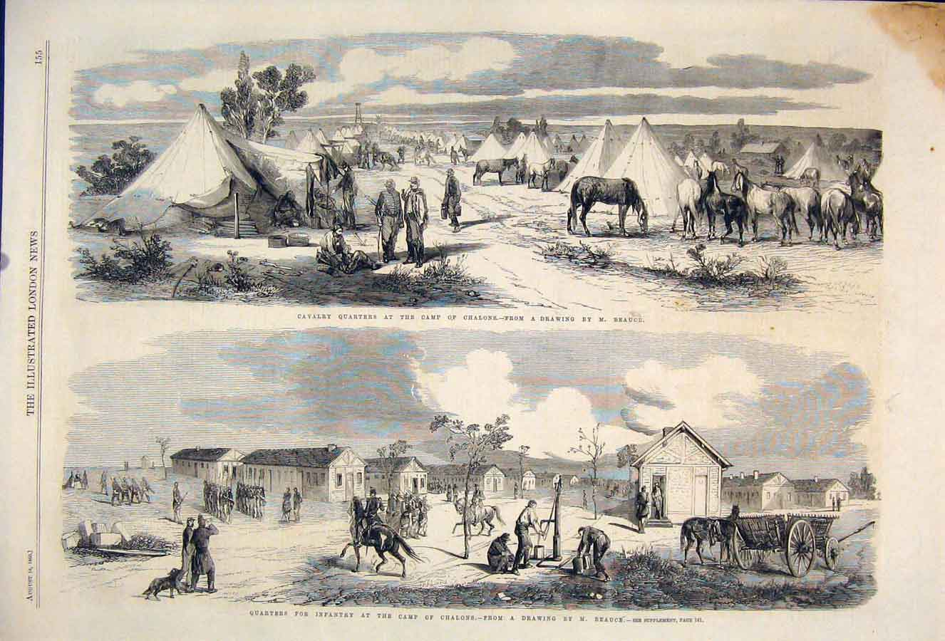 Print Cavalry Camp Chalons Beauce Infantry Quarters 1860 55Maa1 Old Original