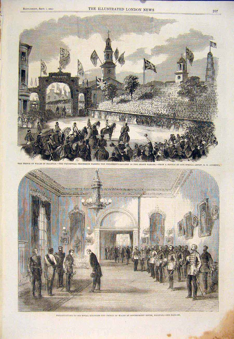 Print Halifax Andrews Children Procession Government House 07Maa1 Old Original