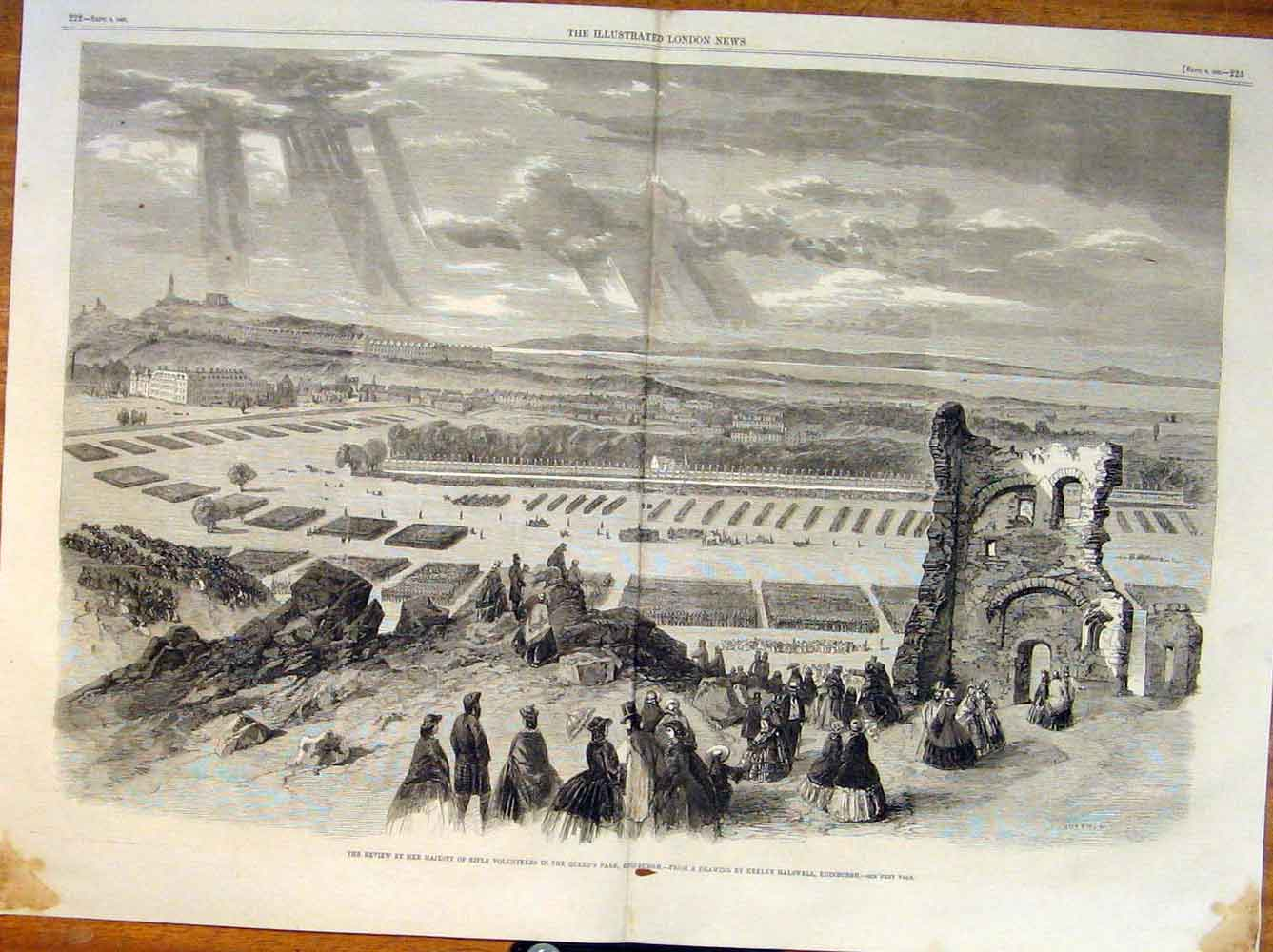 Print Rifle Volunteer Queen Park Edinburgh Scotland Halswell 21Tmaa1 Old Original