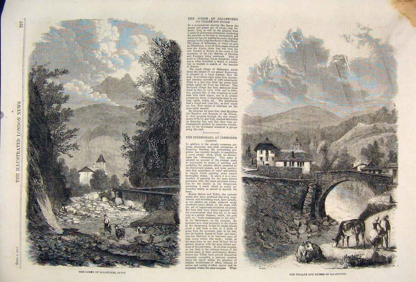 Print Gogre Sallenches Savoy Village Bridge 1860 27Maa1 Old Original