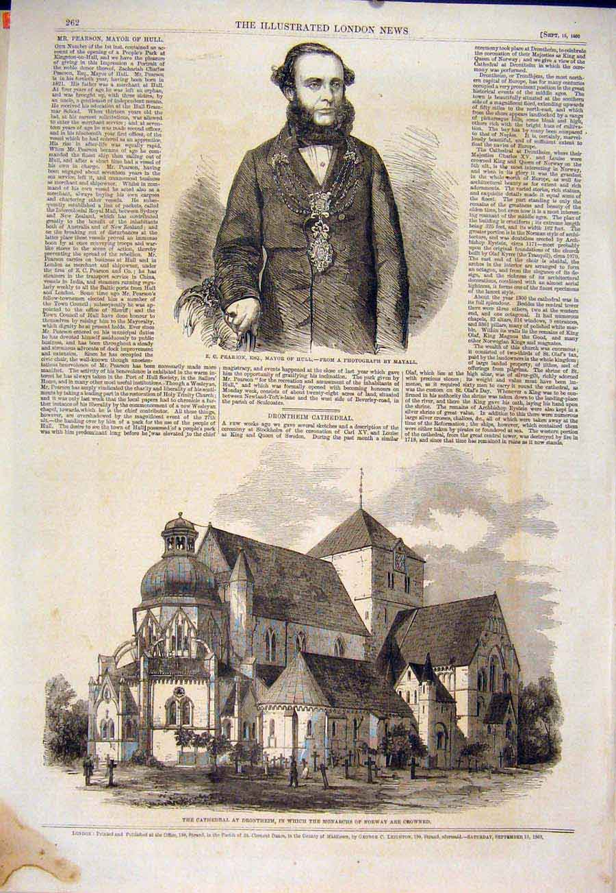 Print Portrait Pearson Hull Cathedral Drontheim Norway 1860 62Maa1 Old Original