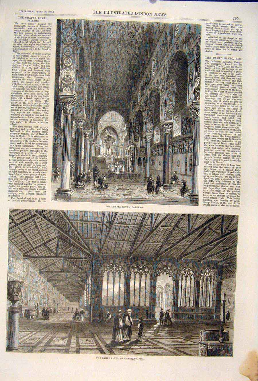 Print Chapel Royal Palermo Italy Sicily Pisa Cemetery 1860 95Maa1 Old Original