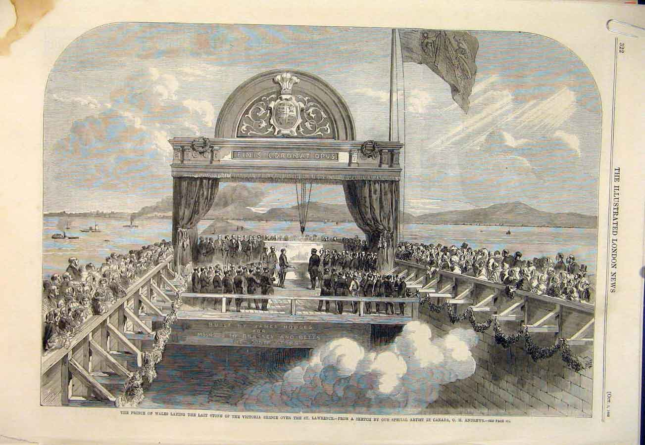 Print Victoria Bridge St Lawrence Canada Andrews Prince Wales 22Amaa1 Old Original