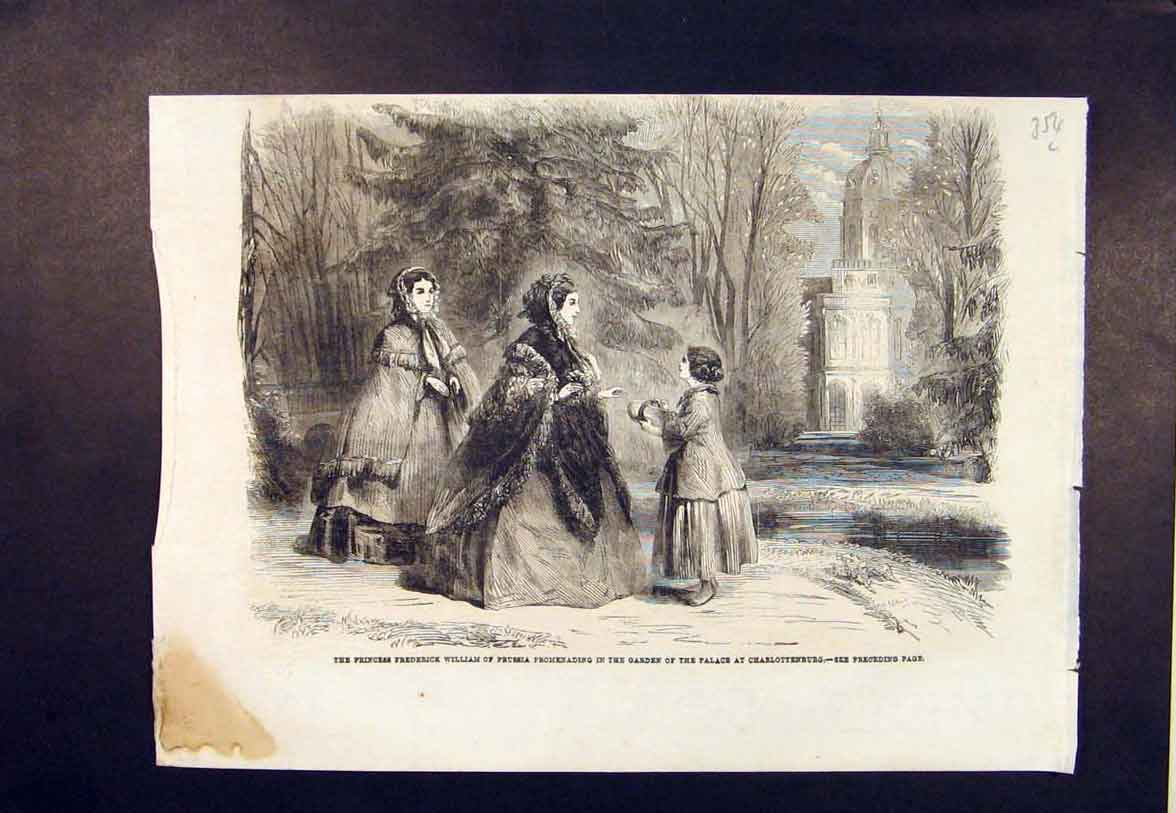 Print Prussia Princess William Garden Palace Charlottenburg 54Lmaa1 Old Original