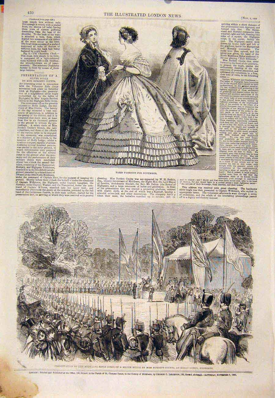 Print Paris Fashion Highgate Rifle Corps Bugle Coutts 1860 30Maa1 Old Original