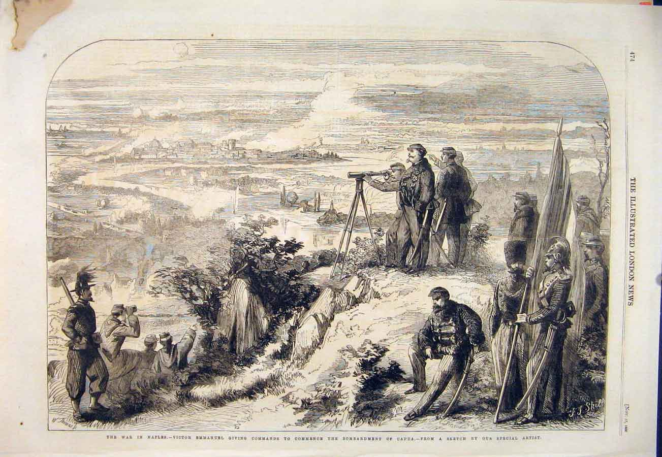 Print War Naples Victor Emmanuel Capua Italy Battle 1860 74Maa1 Old Original
