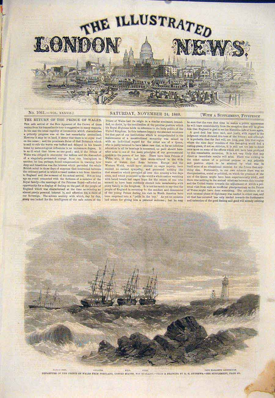 Print Portrland United States America Andrews Boat Usa 1860 80Maa1 Old Original