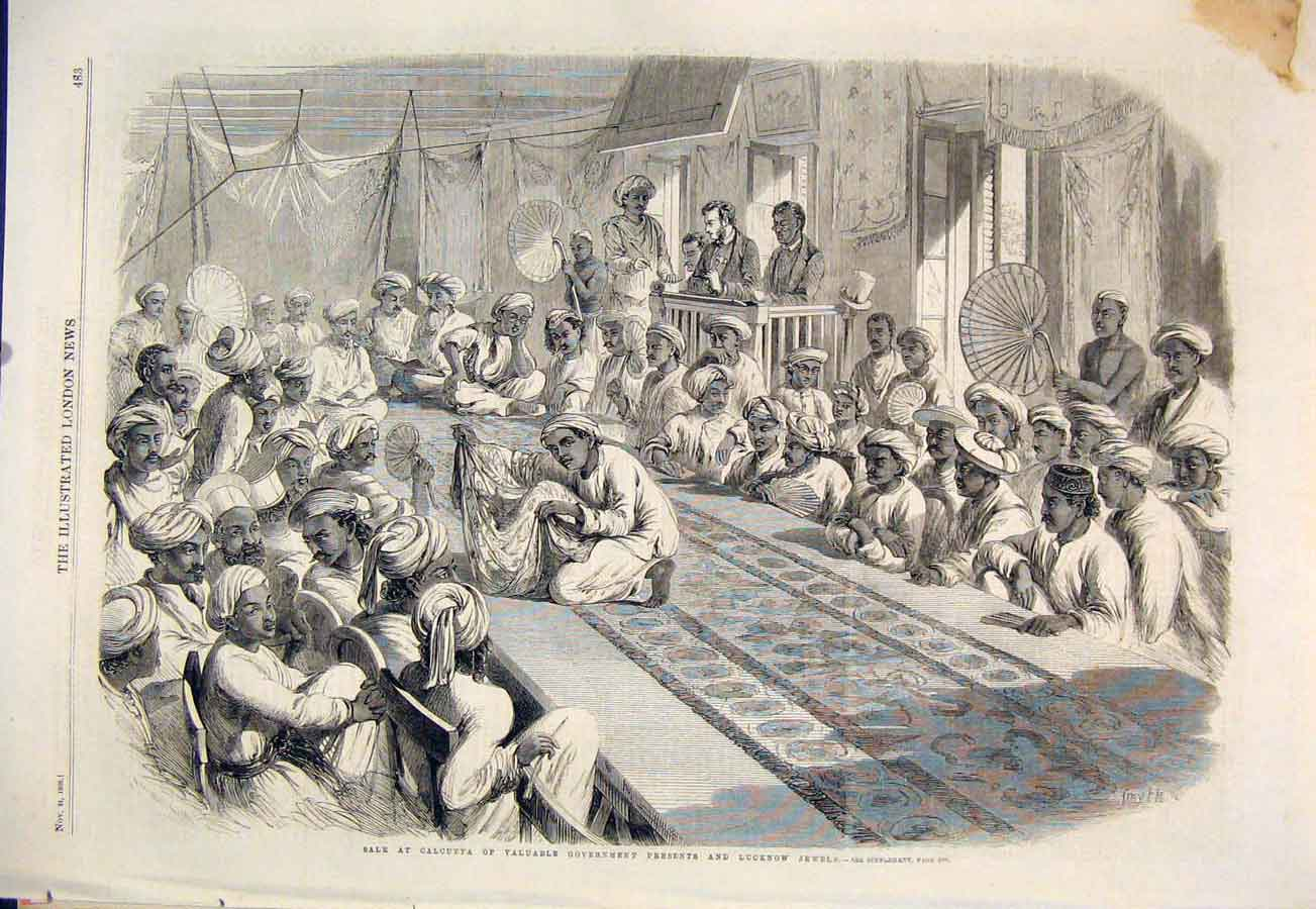 Print Calcutta Government Presents Lucknow Jewels 1860 83Maa1 Old Original
