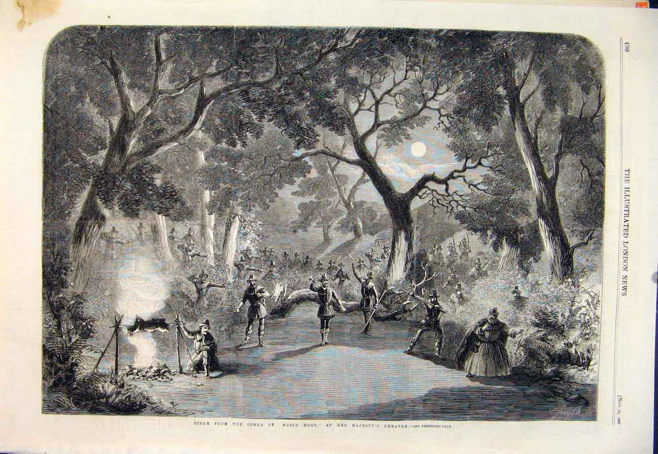 Print Opera Robin Hood Her Majesty'S Theatre London 1860 90Maa1 Old Original