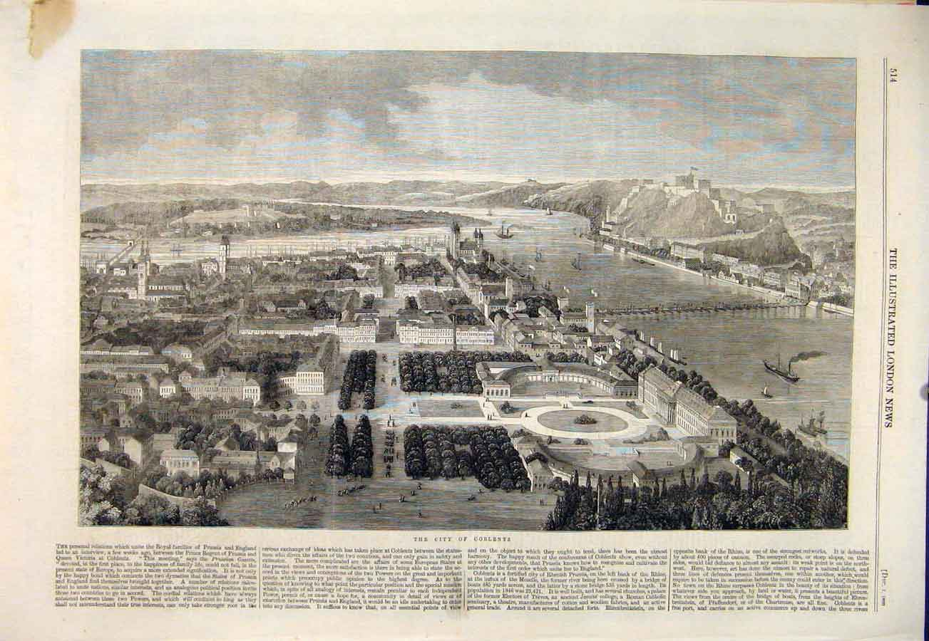 Print City Coblentz Rhenish Prussia Rhine 1860 14Maa1 Old Original