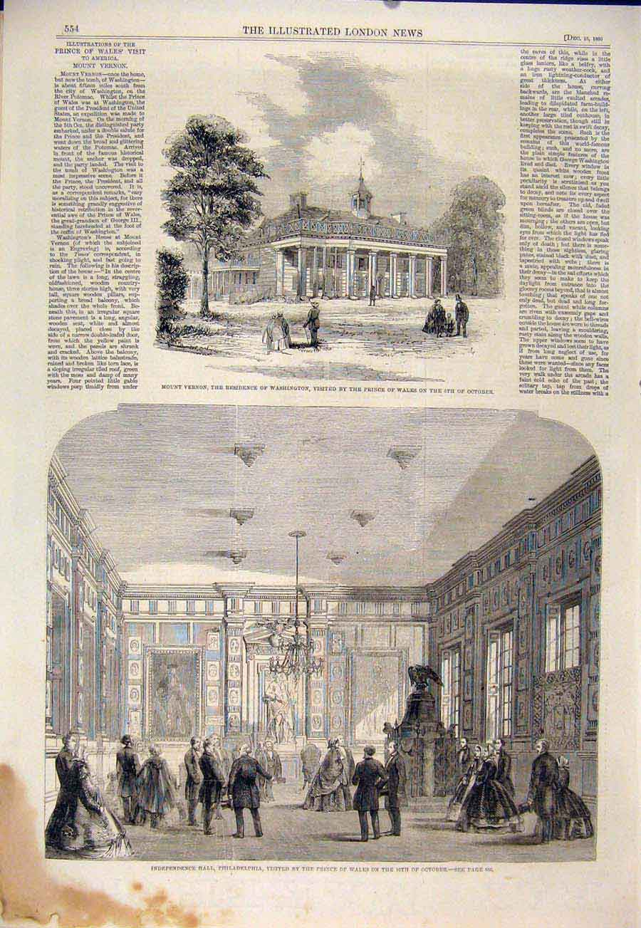Print Mount Vernon Washington Philadelphia Hall 1860 54Maa1 Old Original