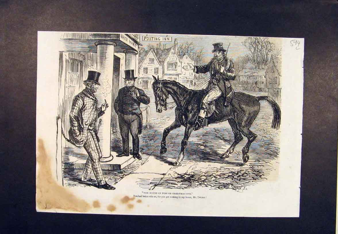 Print Christmas Eve House Fire Twister Horse Swain 1860 94Lmaa1 Old Original
