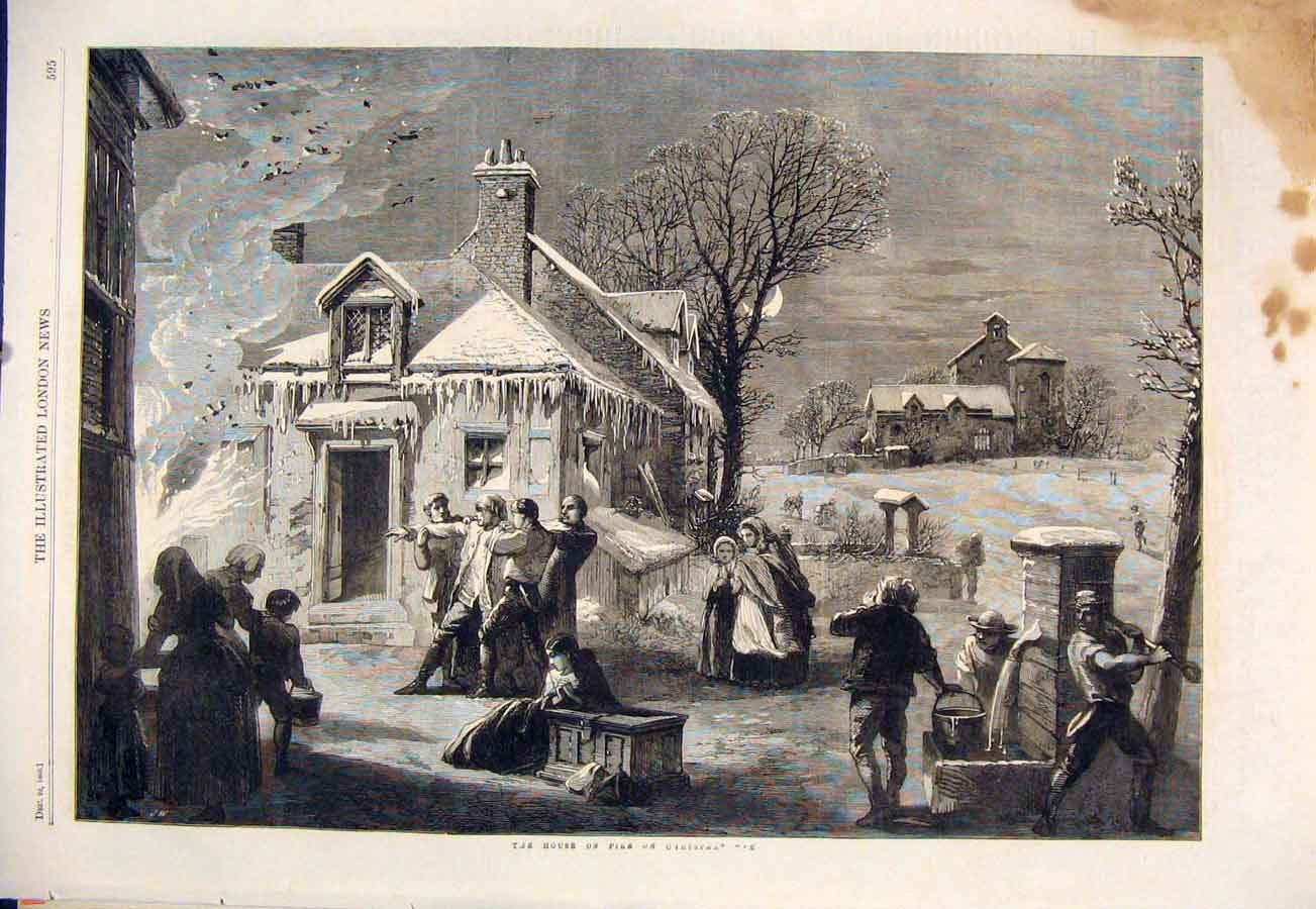 Print Christmas Eve Fire House 1860 95Maa1 Old Original
