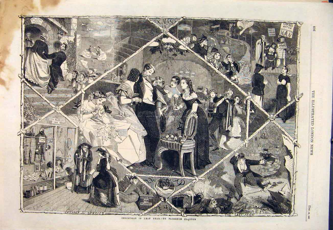 Print Christmas Leap Year Claxton Sketches 1860 06Maa1 Old Original
