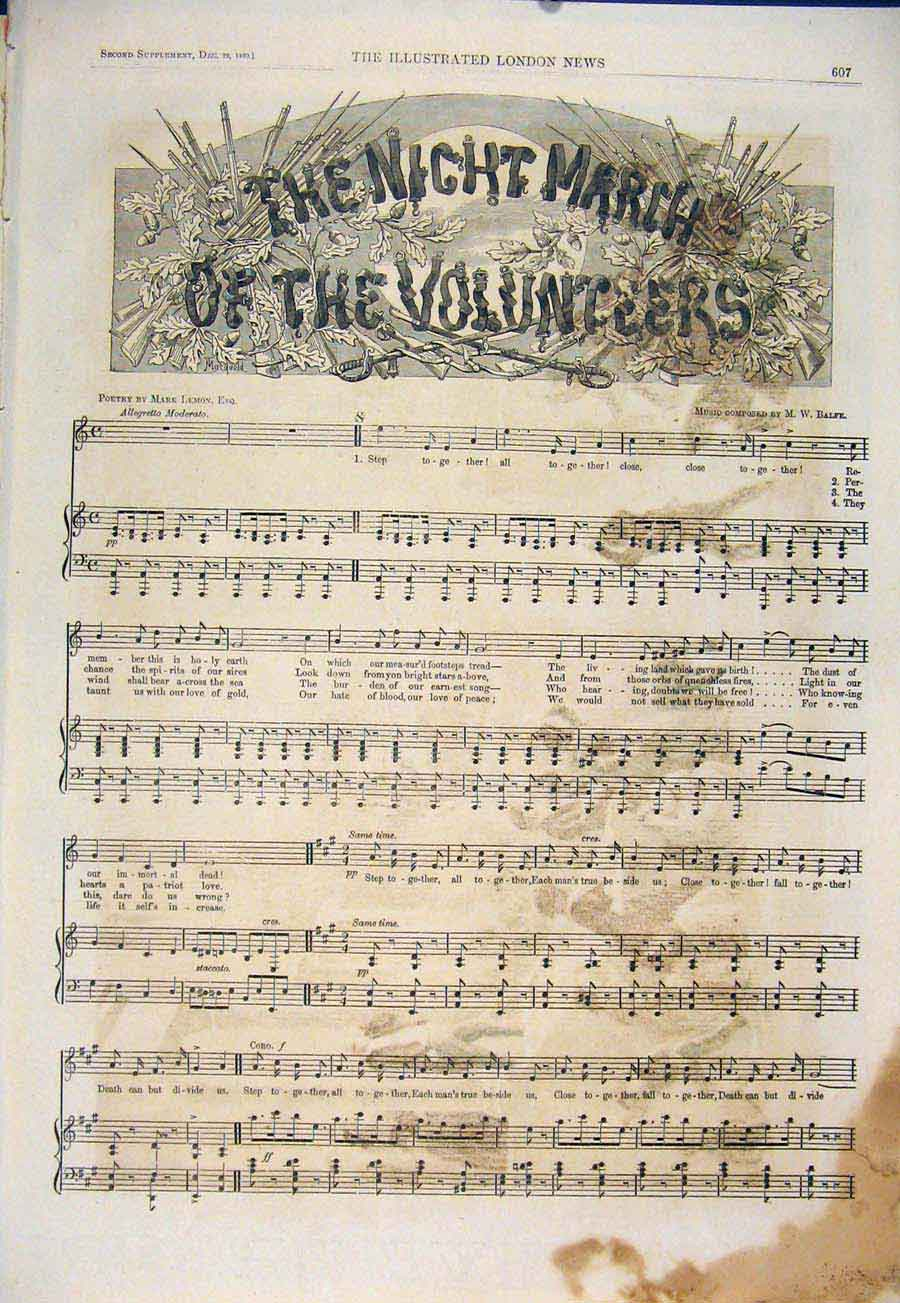 Print Night March Volunteers Music Sheet Score Balfe Lemon 07Maa1 Old Original