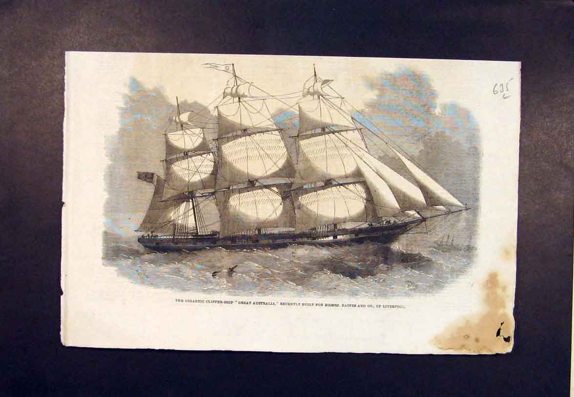 Print Clipper Ship Great Australia Baines Liverpool 1860 35Lmaa1 Old Original