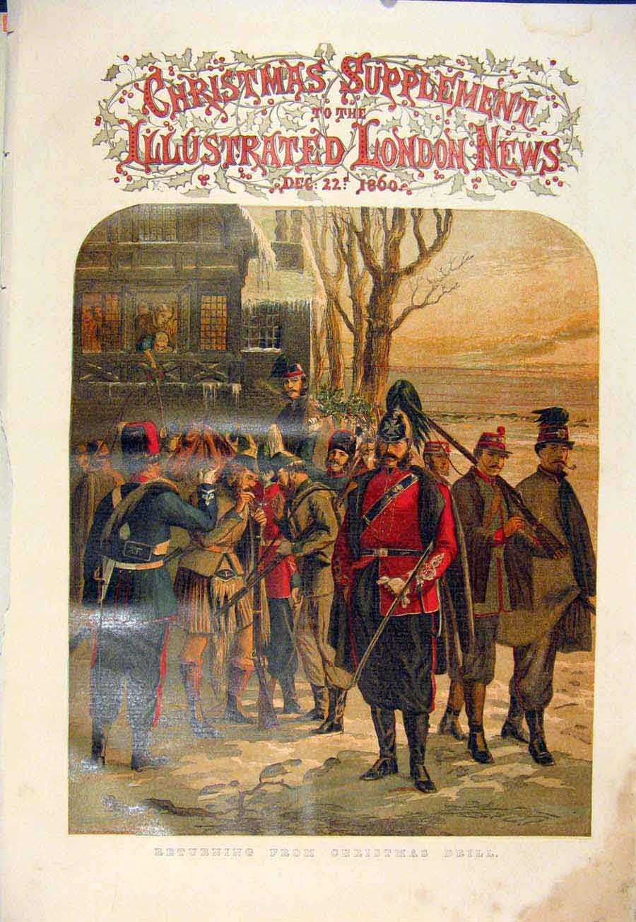 Print Christmas Drill Soldiers Troops 1860 01Maa1 Old Original