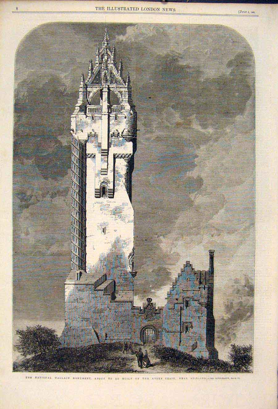 Print Wallace Monument Abbey Craig Stirling 1861 08Maa1 Old Original
