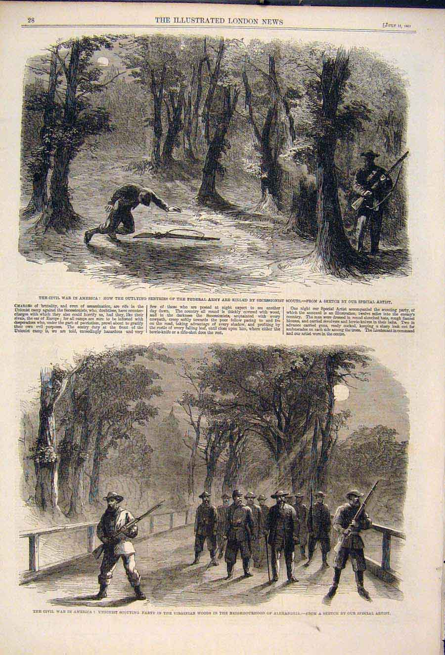 Print Civil War America Federal Army Scouts Unionist 1861 28Maa1 Old Original