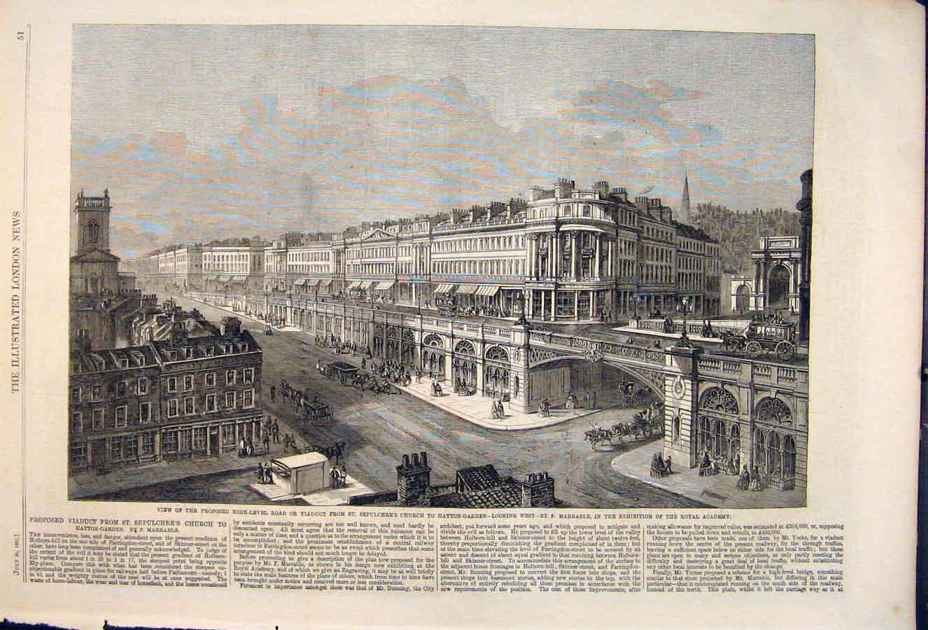 Print Viaduct Hatton Garden Marrable Sepulchre'S Church 1861 51Maa1 Old Original