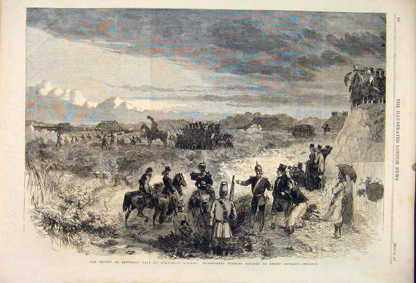 Print Review Wimbledon Common Cavlary Skirmish 1861 66Maa1 Old Original