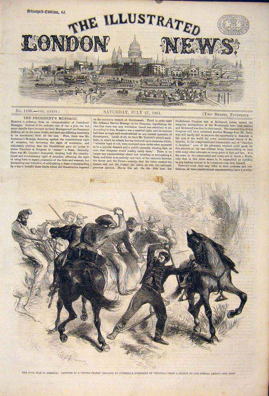 Print Civil War America United States Dragoon Virginia 1861 72Maa1 Old Original