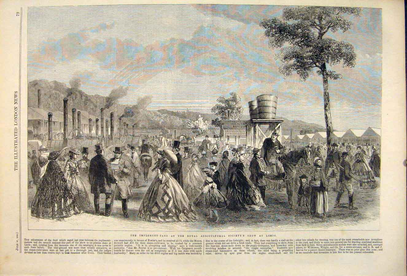 Print Implement Yard Royal Agricultural Show Leeds 1861 79Maa1 Old Original