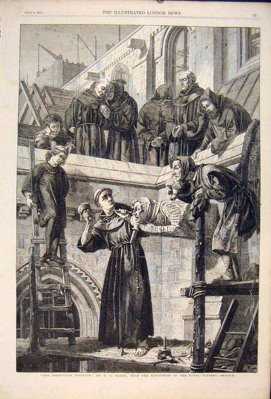 Print Franciscan Sculptor Marks Royal Academy 1861 95Maa1 Old Original