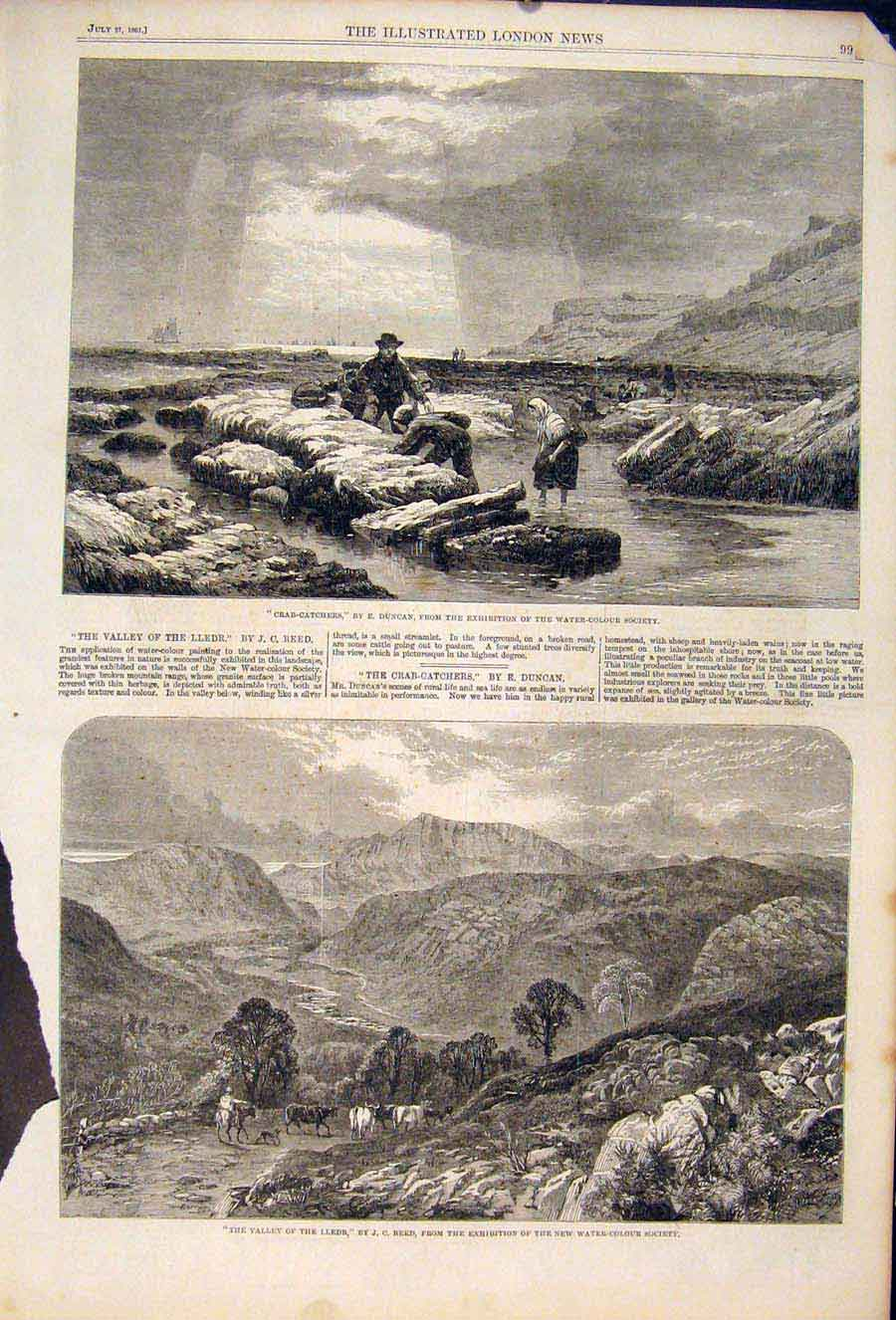Print Crab Catchers Duncan Valley Lledr Reed Fine Art 1861 99Maa1 Old Original