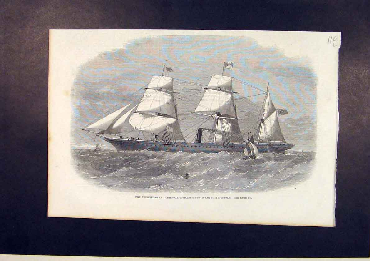 Print Peninsular Oriental Company Steam Ship Mooltan 1861 10Lmaa1 Old Original