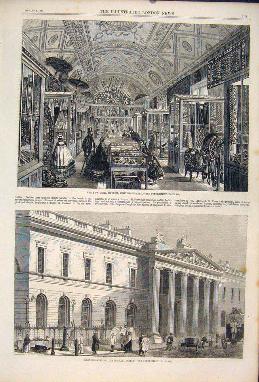 Print Whitehall Yard India Museum Leadenhall Street London 15Maa1 Old Original