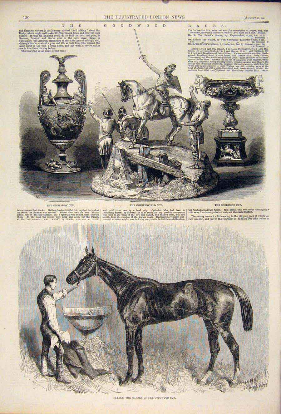 Print Goodwood Races Cup Stewards Starke Horse Chesterfield 30Maa1 Old Original