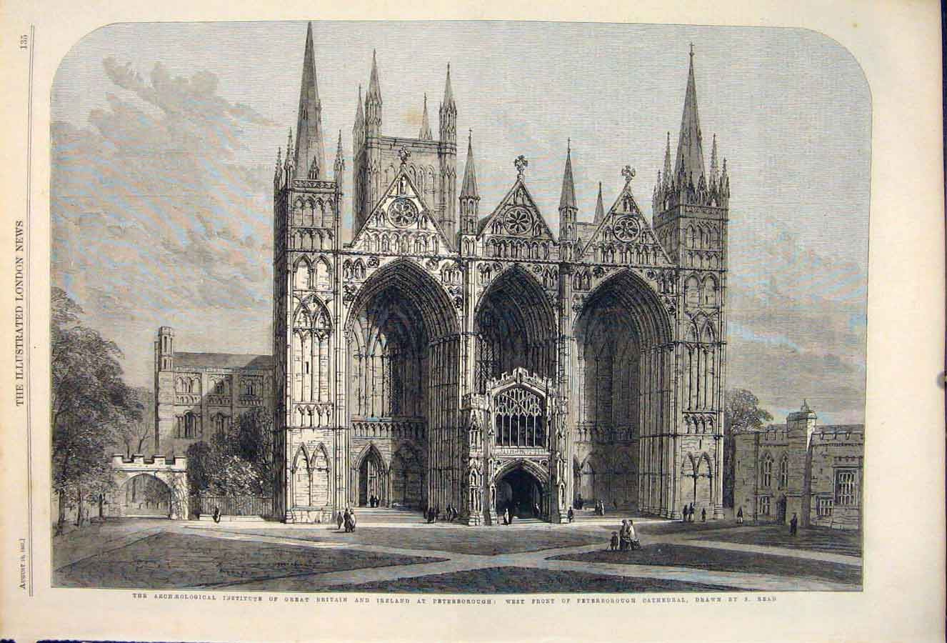 Print Archaeological Britain Ireland Peterborough Cathedral 35Maa1 Old Original