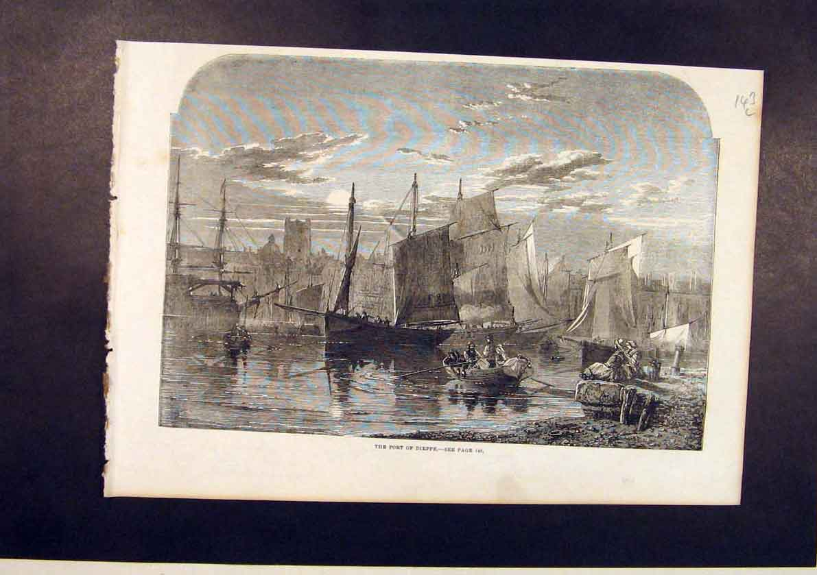 Print Port Dieppe France French Boats Harbour 1861 43Lmaa1 Old Original