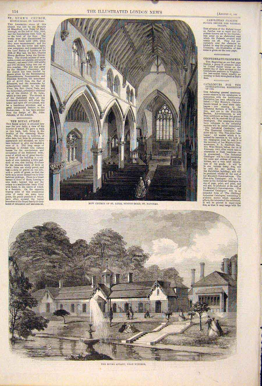 Print Church St Luke Pancras Royal Aviary Windsor London 1861 54Maa1 Old Original