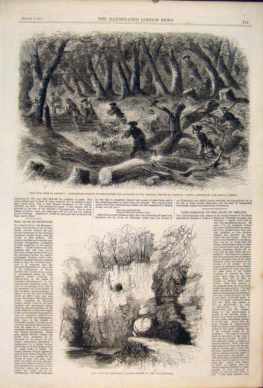 Print Civil War America Federal Troops Fairfax Caves Jedburgh 55Maa1 Old Original