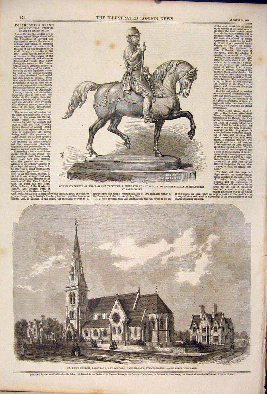 Print Baden Church Parsonage Hanger Lane Statue William 1861 74Maa1 Old Original