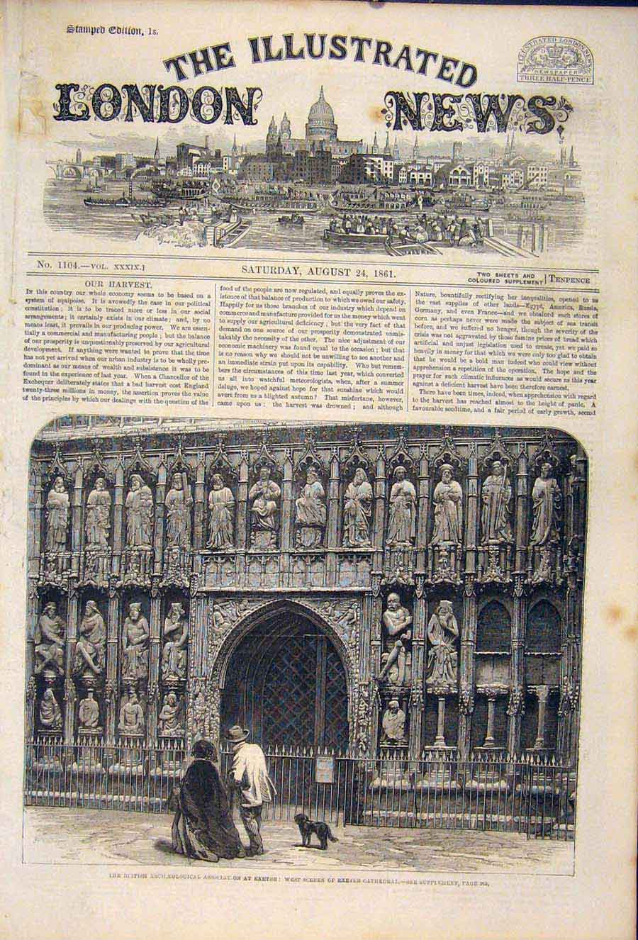 Print Exeter Cathedral Archaeological Association London 76Maa1 Old Original
