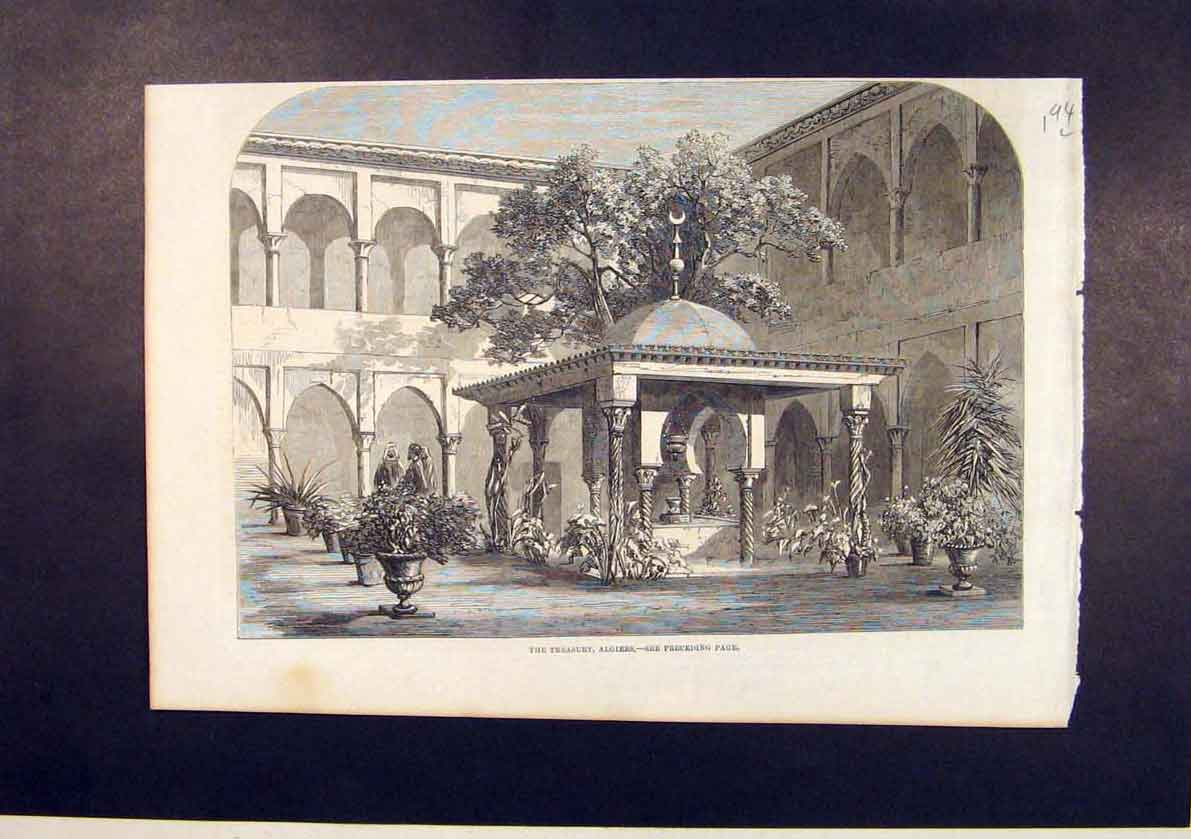 Print Treasury Algiers Africa 1861 94Lmaa1 Old Original
