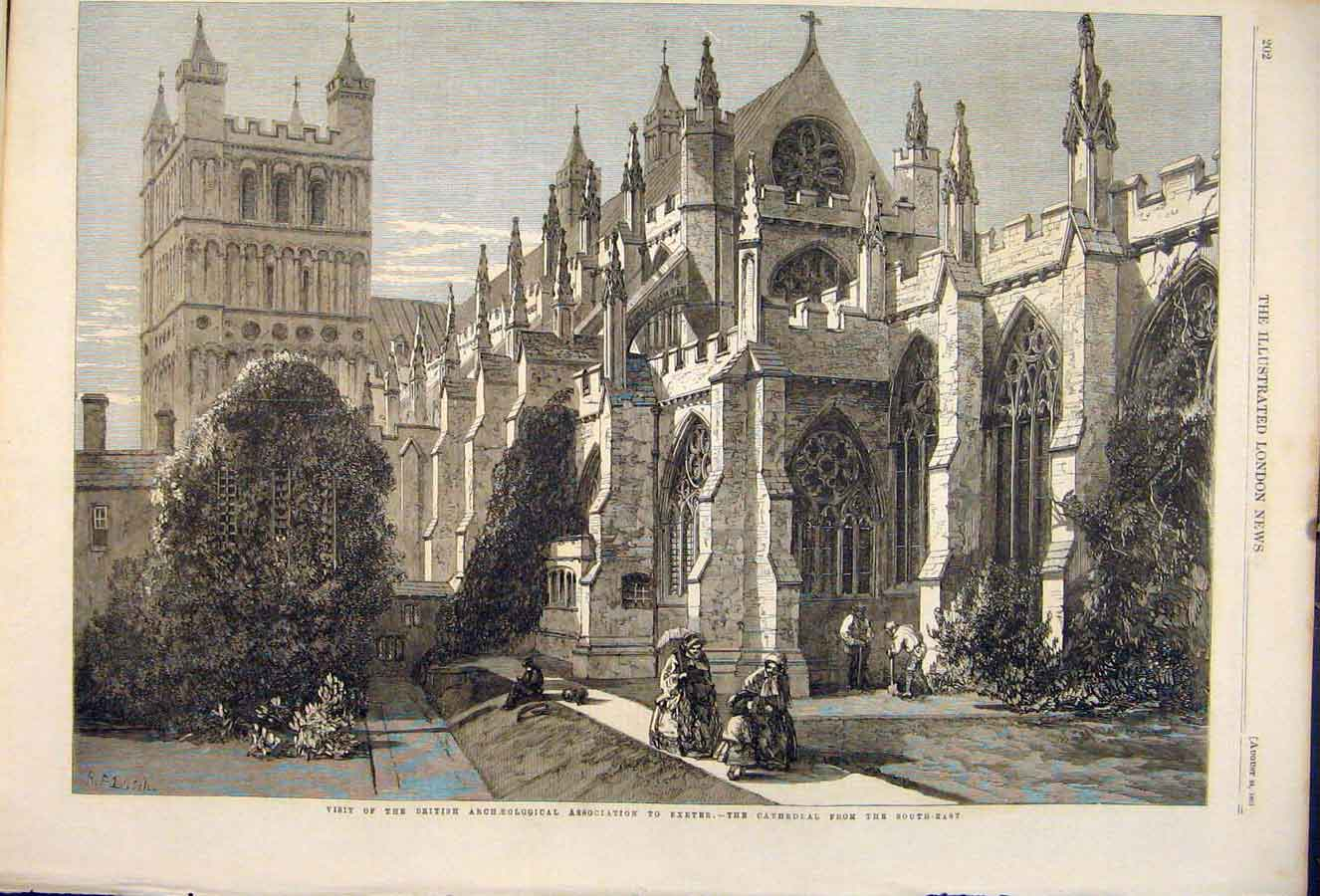 Print British Archaeological Association Exeter Cathedral 02Maa1 Old Original