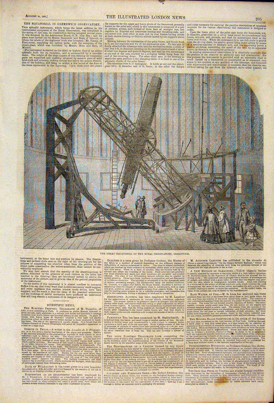 Print Equatorial Royal Observatory Greenwich London 1861 05Maa1 Old Original