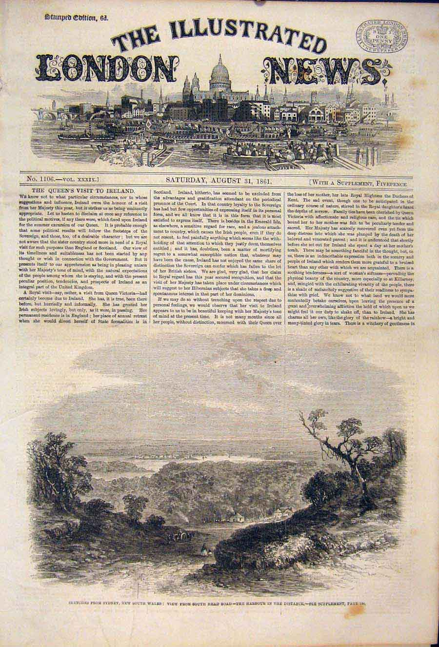 Print Sydney Sketches New South Wales Austrlia Harbour 1861 08Maa1 Old Original