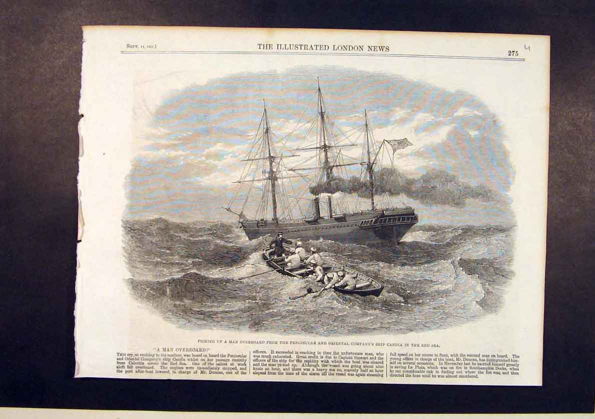 Print Peninsular Oriental Company Ship Candiared Sea Man 1861 75Umaa1 Old Original
