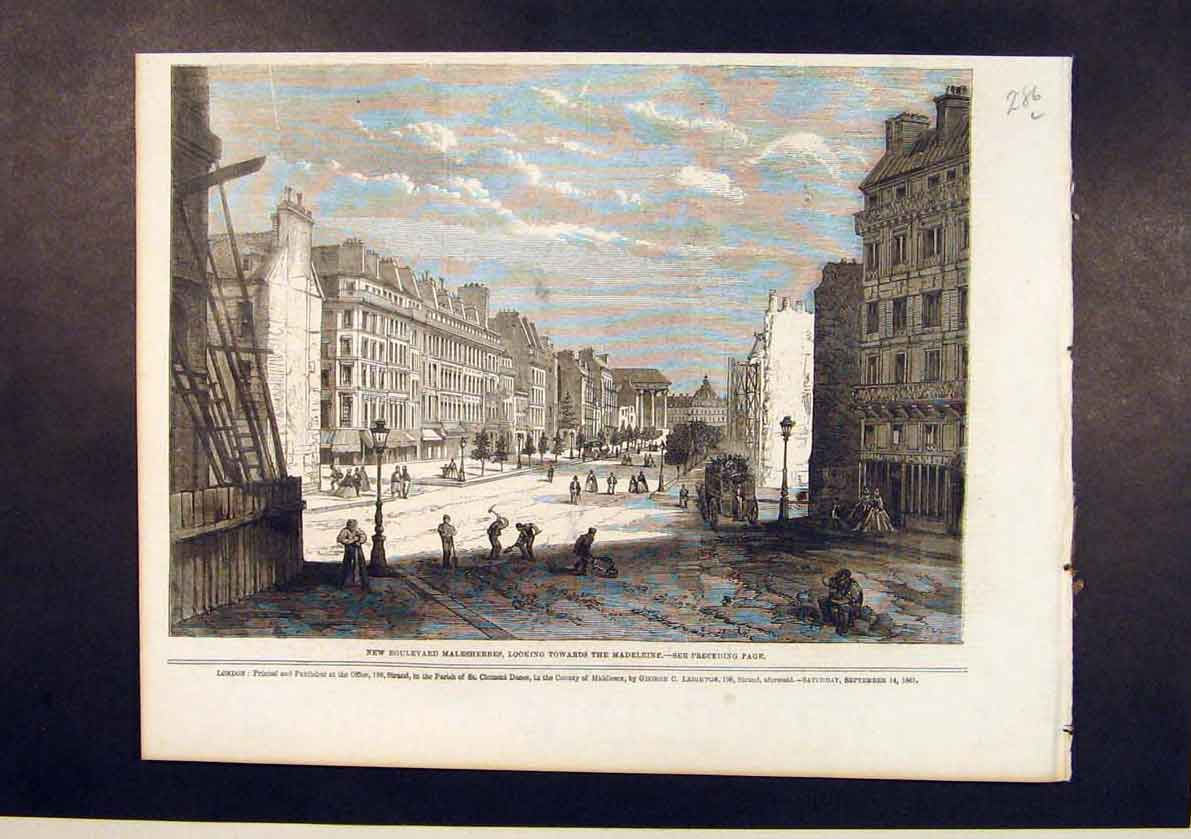 Print Boulevard Malesherbes Madeleine France French 1861 86Lmaa1 Old Original