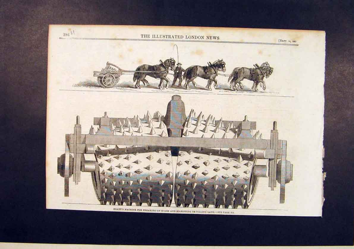 Print Braby'S Machine Braby Scarifying Tilling Road 1861 86Umaa1 Old Original