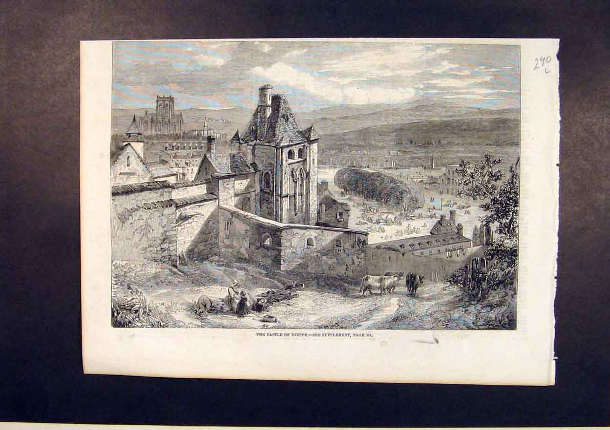 Print Castle Dieppe France French 1861 90Lmaa1 Old Original