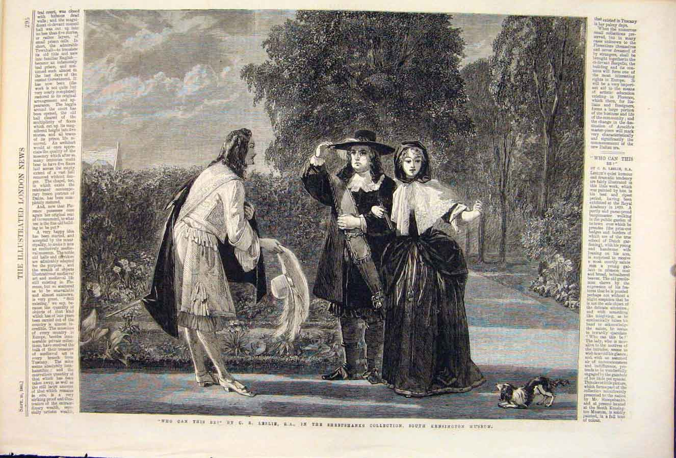 Print Leslie Sheepshank Kensington Museum Lady Gentleman 1861 95Maa1 Old Original