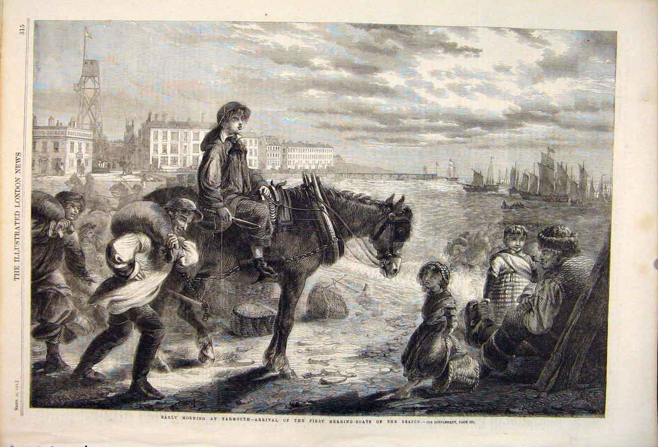 Print Yarmouth Herring Boats Fishing Fish 1861 15Maa1 Old Original