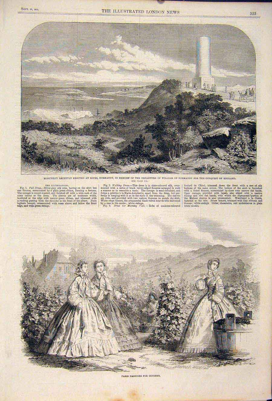 Print Dives Normandy Willliam France Paris Fashion Lady 1861 23Maa1 Old Original